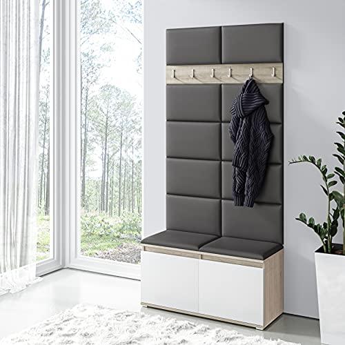 Jerpax Garderobenset Ema Somoa Eiche - Sitzbank, Schuhschrank, Garderobe & gepolstertes Wandpaneel - in vielen Farben