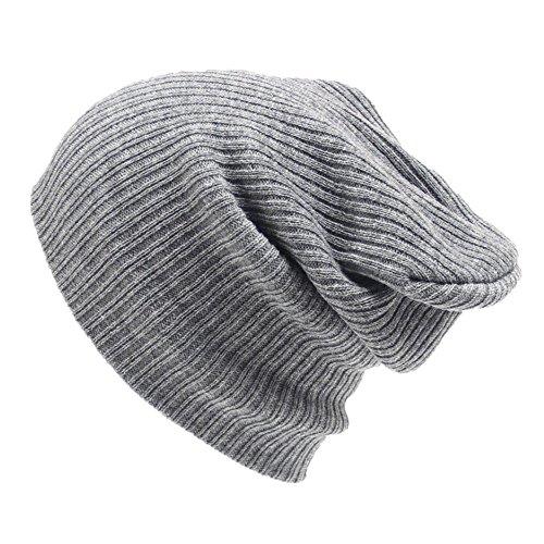 FAMILIZO los hombres son las mujeres beanie sombrero caliente de lana de punto unisex gorra de esquí de invierno de hip-hop (Gris)