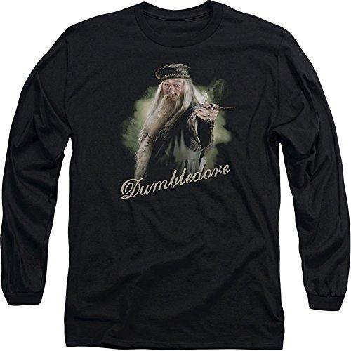 T-Shirt Harry Potter Film Dumbledore mit Zauberstab für Erwachsene, langärmelig, S-3XL - Schwarz - X-Groß