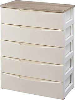 アイリスオーヤマ デザイン チェスト 5段 日本製  木天板 幅73×奥行42×高さ100�p アイボリー DW-725...