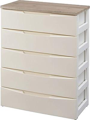 アイリスオーヤマ デザイン チェスト 5段 日本製 木天板 幅73×奥行42×高さ100㎝ アイボリー DW-725