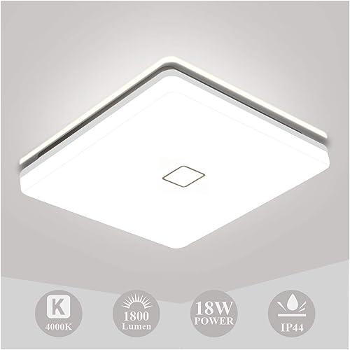 Plafonnier LED 18W, Öuesen Luminaire Plafonnier Salle de Bains 1800LM Carré Lampe de Plafond 4000K Blanc Naturel, Int...