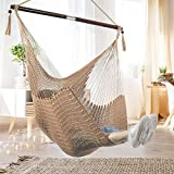 Bathonly Large Caribbean Hammock Hanging Chair, Durable Polyester Hanging Chair, Swing Chair w/Foldable Spreader Bar for Indoor/Outdoor Garden & Living Room