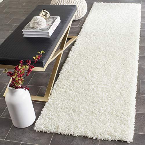 Safavieh Athens Shag Collection SGA119B 1.5-inch Thick Runner, 2' 3' x 6', White