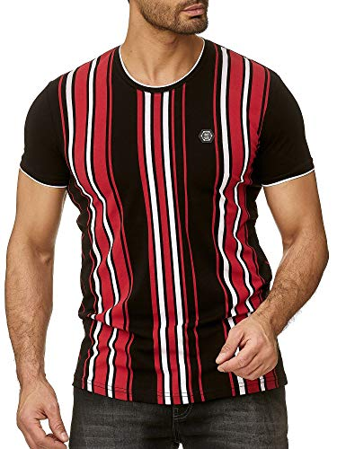 Red Bridge Camiseta Manga Corta de Rayas para Hombres T-Shirts con Logo Moda Negro
