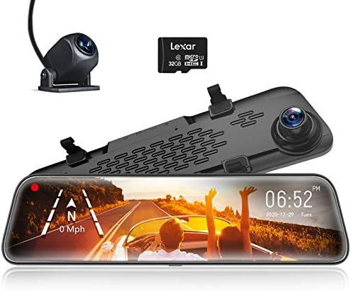 WOLFBOX 12 Mirror Dash Cam Backup Camera 1296P Full HD Smart Rearview Mirror for Cars Trucks product image