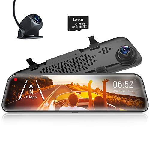 """WOLFBOX 12"""" Mirror Dash Cam Backup Camera,1296P Full HD Smart Rearview Mirror for Cars & Trucks, Sony IMX335 Front and Rear View Dual Lens, Night Vision, LDWS, Parking Assistance, Free 32GB Card & GPS"""