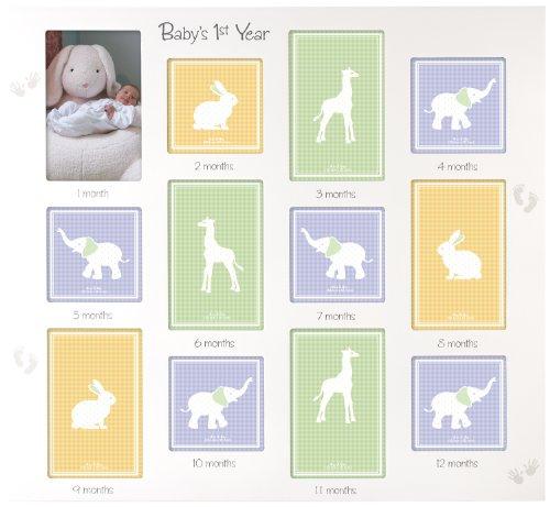 Malden International Designs Cadre photo mural pour bébé Inscription 1ère année 12 options 15,2 x 15,2 x 10,2 cm Blanc