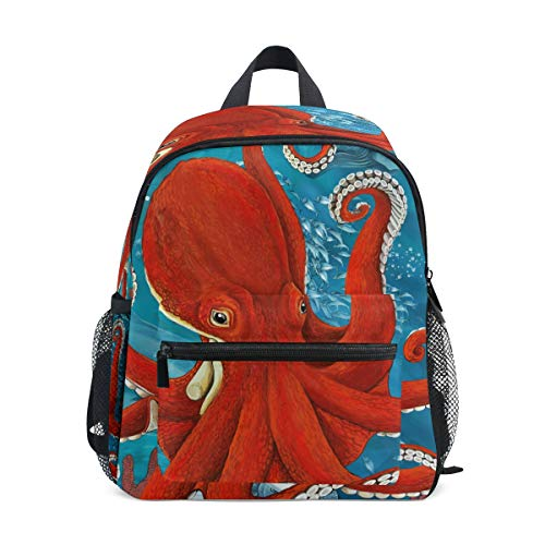 LILIFE Ocean Sea Red Octopus Kids Backpacks Book Bag Water Resistant Elementary School Bags with Chest Clip Travel Hiking Rucksack Snack Diapers Daypack for Children Boys Girls