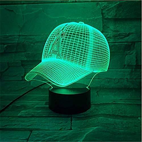 Luz de la noche del bebé nuevo sombrero tema 3D lámpara LED noche luz 7 cambio de color botón táctil lámpara de estado de ánimo Navidad PresenClosetWith interruptor remoto