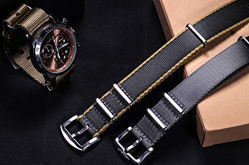 Torbollo NATO Watch Band, Quick Release Straps for Men Women, Quality Nylon Replacement with Heavy Duty Brushed Buckle of 18mm 20mm 22mm 24mm Choice