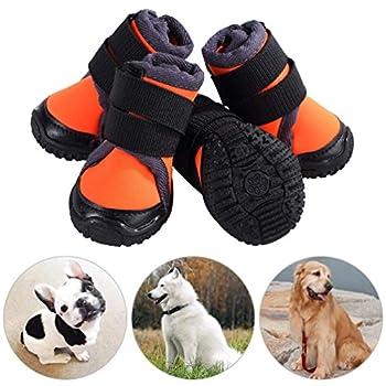 Petilleur Chaussure pour Chien Protection Chausson pour Chien Antidérapant pour Exterieur Randonnée Sport (50, Orange)