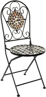 LOLAhome Silla con Mosaico para Exterior de Hierro y cerámica Terracota rústica, de 38x38x92 cm