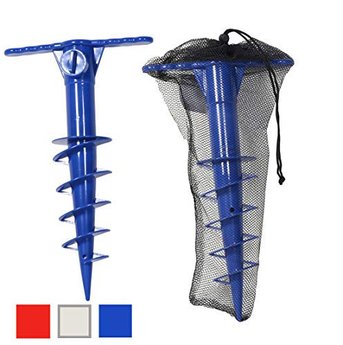 Deluxe Beach Umbrella Sand Anchor | Sand Auger | Umbrella Holder for Strong Winds | One Size Fits All w Mesh Carry Bag