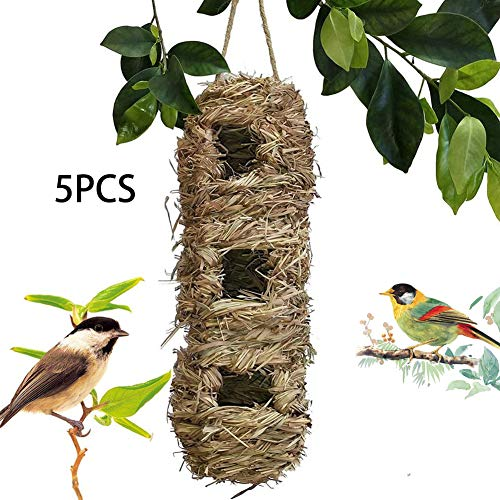 ZXL Strohvogelnest, Vogelkäfig im Freien Käfignestquartier, Vogeltasche, Vogelhaus, Rasen, 100% natürliche Faser, ideal für Vögel - Bietet Schutz vor kaltem Wetter 5PCS