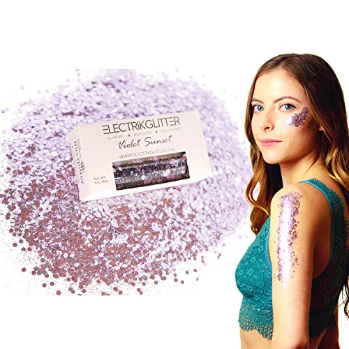Biodegradable Glitter Chunky Glitter for Festivals. Eco Friendly Body Glitter for Hair Glitter, Nail Glitter, Face Eyeshadow glitter, Rave accessories, Holographic glitter makeup (Purple Glitter)