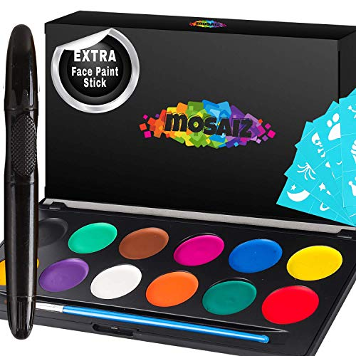 Non-Grease Face Paint Kit for Kids and Adults - 12 Colors Face Painting Palette Bonus 30...