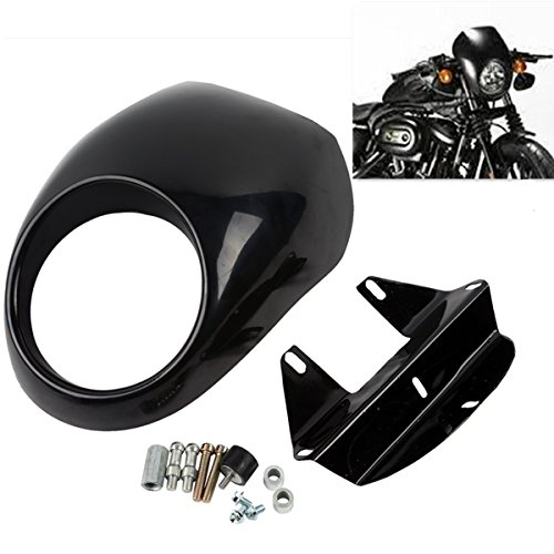 XFMT Cafe Racer Style Drag Racing Front Headlight Fairing Cowl Mask Compatible with Harley Sportster Dyna Glide FX X