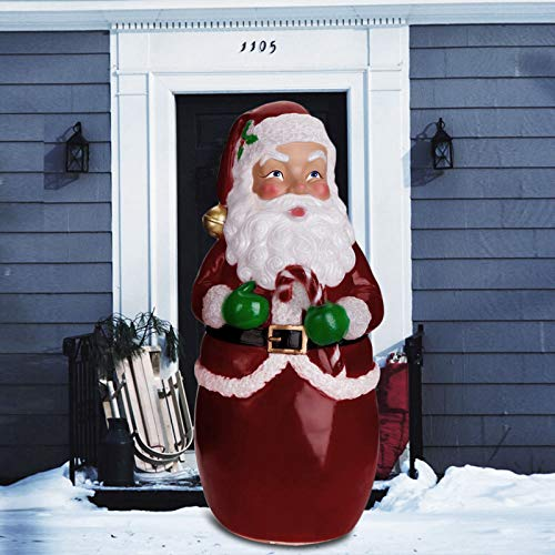 XINDEEK Christmas Santa Claus Lighted Statue,LED Light Effect Plastic Santa Clause Decoration for Garden Outdoor Yard Lawn,Xmas Decor Gifts for Kids