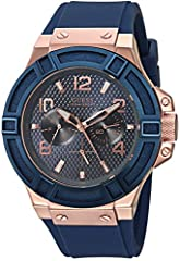 ICONIC BLUE MULTI-FUNCTION DIAL Feautres: Day and Date Functions 46 MM CASE SIZE with DURABLE MINERAL CRYSTAL that protects watch from scratches BRUSHED ROSE GOLD-TNE CASE WITH BLUE TOP RING COMFORTABLE Iconic Blue STAIN RESISTANT STRAP with Buckle C...