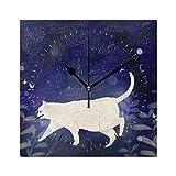 JIRT Reloj de Pared Cat In The Night Square 8x8 Pulgadas Silent Decorativo para la Escuela de Oficina en casa