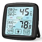 NIXIUKOL Higrómetro Digital Termohigrómetro Professional Termometro Interior con Pantalla Táctil Grande, Indicador de Comodidad, Medidor de Temperatura Humedad para Casa Oficina Habitación de bebé