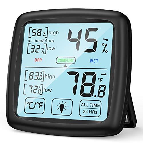 NIXIUKOL Hygrometer Innen Thermometer Digital Raumthermometer mit hohen Genauigkeit, Komfortanzeige, Touch Screen, Luftfeuchtigkeitsmessgerät, Thermo-Hygrometer für Zuhause, Babyraum, Wohnzimmer, Büro
