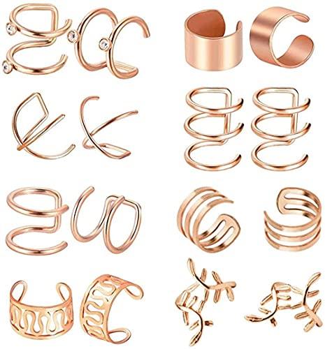 ADIS Juego de 8 pares de pendientes de cartílago de acero inoxidable, sin perforaciones, para mujeres, hombres, 8 estilos, oro rosa