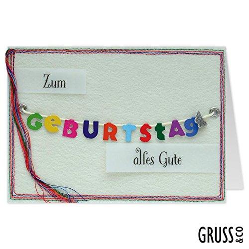 Grußkarte Filz - Zum Geburtstag - Geburtstagskarte - 32