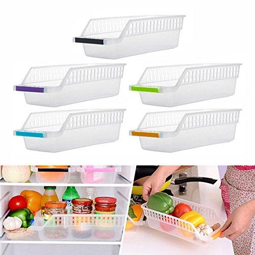 Fewear Fridge Bins and Freezer Bins Refrigerator Organizer Stackable Food Storage Containers BPA-Free Drawer Organizers for Refrigerator Freezer and Pantry Random