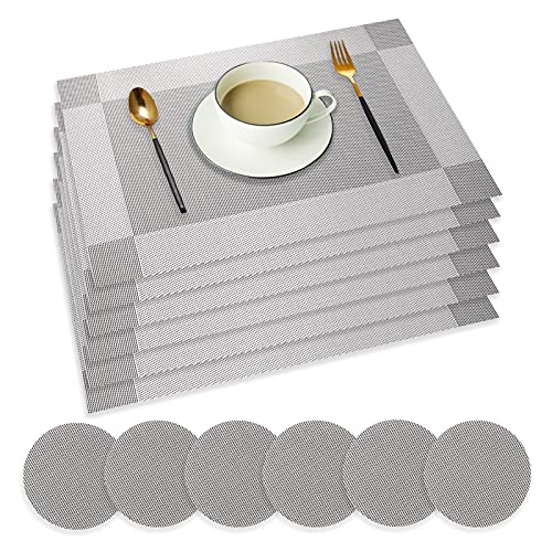 wiipara Placemats Set of 6, PVC Place Mats and Coasters Washable Non-Slip...