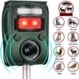 Dog Repeller Ultrasonic, Solar Powered Waterproof Outdoor Animal Chase, 5 Mode Adjustable & USB Charging, Pets Deterrent Scarer with Motion Sensor and Flashing Light
