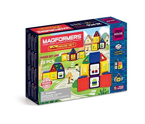 Magformers Wow House 28 Pieces Set, Rainbow Colors, Educational Magnetic Geometric Shapes Tiles Building STEM Toy Set Ages 3+