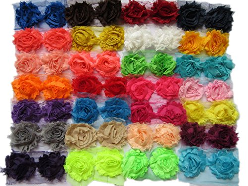 YYCRAFT (56 Pieces) Solids Shabby Flowers Trim Fabric Rose - Chiffon Fabric Roses - 2.5' 28 Colors
