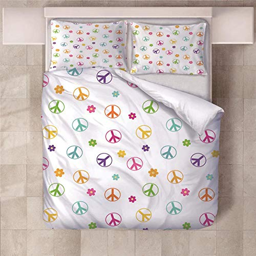 PERFECTPOT Single Duvet Cover Set Color Flower Printed Bedding Duvet Cover Set in Polyester Quilt Bedding Sets with 2 Pillowcases for Adults Kids Children, 140x200cm