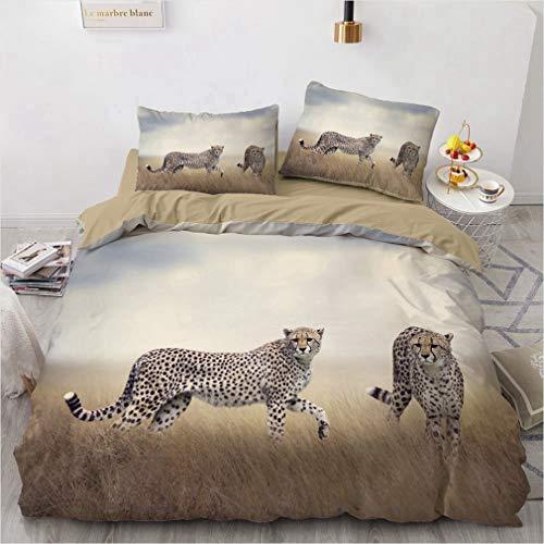 NEWAT 3D Leopard Print Bettwäsche, Leopard Print Bettbezug, 3D Bettwäsche Set für Kinder Jungen Teenager Niedlicher Leopard im Wald Bettbezug mit Reißverschluss (S,135 x 200 cm)