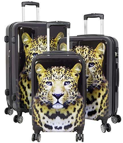 Trendyshop365 Hartschale Koffer-Set 3-teilig mit Foto Bedruckt - Leopard Wildlife - 4 Zwillingsrollen Tiermotiv