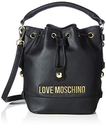 Love Moschino Precollezione ss21, Borsa a Secchiello da Donna, Lettering Logo, Nero, Normal