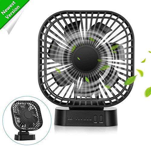 COMLIFE Ventilator mit magnetischem Unterlage 4000mAh wiederaufladbar Tischventilator, 3 Stufen mit Timer, angetrieben USB & Akku, perfekter persönlicher Fan (enthält deutsche Bedienungsanleitung)