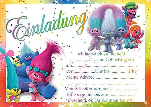 10 Einladungen zum Kindergeburtstag Trolls (mit weißen Umschlägen)