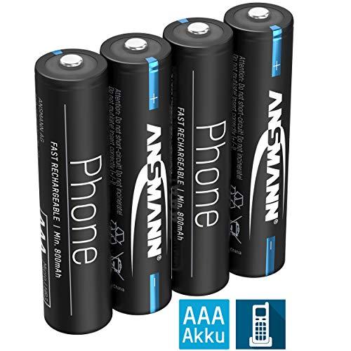 ANSMANN Telefon Akku AAA 800mAh NiMH 1,2V - Phone DECT Micro AAA Batterien wiederaufladbar mit geringer Selbstentladung ideal für Schnurlostelefone und Babyphones (4 Stück)