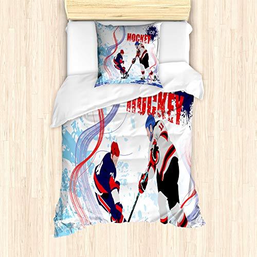ABAKUHAUS Eishockey Bettbezug Set für Einzelbetten, Spieler auf der Eisbahn, Milbensicher Allergiker geeignet mit Kissenbezug, Mehrfarbig