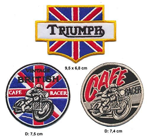 Racing Classics Cafe Racer Triumph Parche para Planchar Patch 3Pieza Motocicleta Biker Bobber Inglaterra