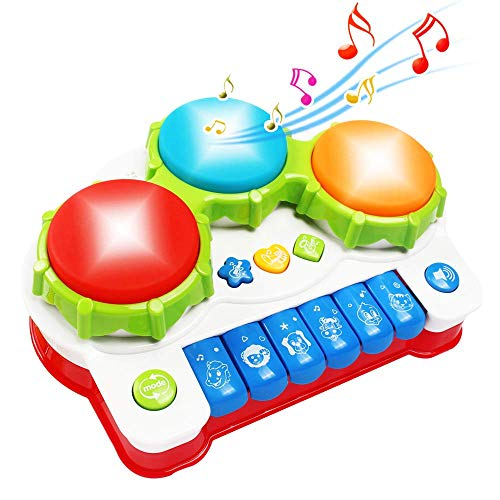 Yerloa Baby Drum Music Learning Toys for Toddler 1 2 3 Year Old Baby Musical Instrument with Keyboard & Drum Mini Piano for Kids for Boys and Girls?not include xylophone?