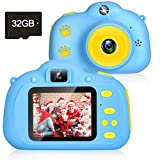 Kids Camera, 1080P Kids Selfie Camera with 8MP Dual Cameras Children Digital Camera Kids Toys for 3-10 Age Girls Boys Best Birthday Christmas Kids Gifts Toddler Camera with 2.0 IPS 32GB SD Card (Blue)