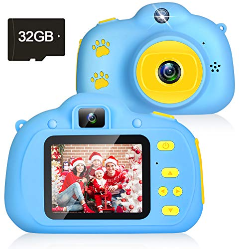 Kids Camera, 1080P Selfie Kids Camera with 8MP Dual Camera Children Digital Cameras Toys for 3-12 Age Girls and Boys Best Birthday Kids Gifts Toddler Camera with 2.0 IPS 32GB SD Card (Blue)