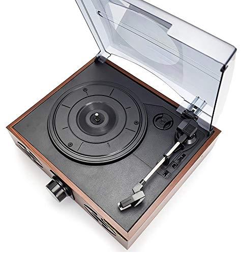 OPNIGHDYMD Vinyl-Plattenspieler, Vintage-Plattenspieler , DREI-Gang-Plattenspieler-Retro-Plattenspieler mit eingebauten Stereolautsprechern