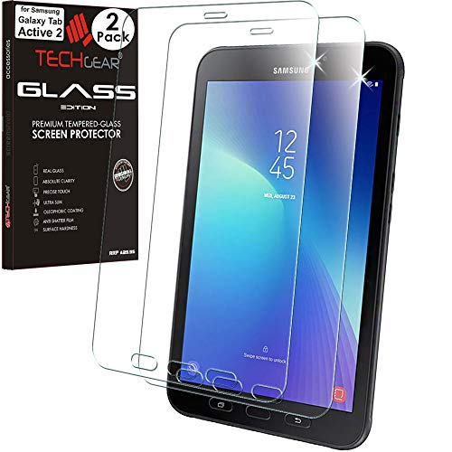 TECHGEAR [Pack of 2 GLASS Edition Screen Protectors Made For Samsung Galaxy Tab Active 2 8.0' (SM-T390 / SM-T395), Tempered Glass Screen Protector [9H Toughness] [HD Clarity] [Scratch-Resistant]