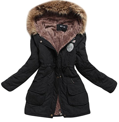 Aro Lora Women's Winter Warm Faux Fur Hooded Cotton-Padded Coat Parka Long Jacket Black US 2 (Tag S)