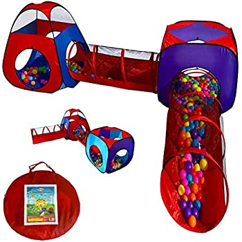 Playz 4pc Pop Up Children Play Tent w/ 2 Crawl Tunnel & 2 Tents - Kids Tents for Boys, Girls, Babies & Toddlers for Indoor & Outdoor - Large Children Playhouse Ball Pit w/ Storage Case